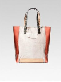 Intropia Suede and Leather Tote Bag Stone