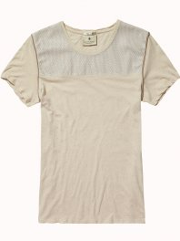 Maison Scotch Mixed Fabric Tee Stone Melange