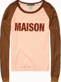 Maison Scotch Knitted Top with Artwork Blush