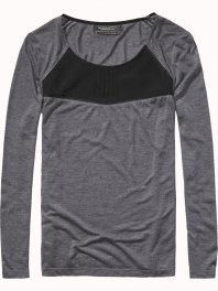 Maison Scotch Jersey and woven mix long sleeve tee Grey Melange