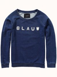 Maison Scotch Sweater with enamelled letters Indigo