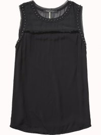 Maison Scotch Viscose tank with fringe and stud details Black
