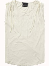 Maison Scotch Cotton linen top with tie up shoulder detail Off White