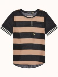 Maison Scotch Sheer photoprinted top with sporty striped sleeves Combo D