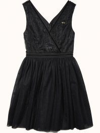 Maison Scotch Tulle party dress with velvet details Black