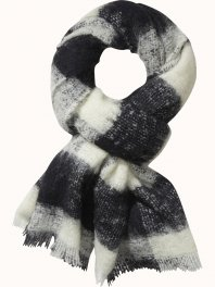 Maison Scotch Fluffy wool checked scarf Combo A