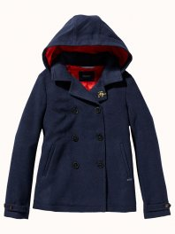 Maison Scotch - Wool peacoat with detachable hood Navy