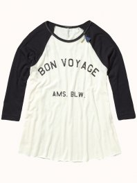 Maison Scotch A-shape tee with 3/4 raglan sleeve Black