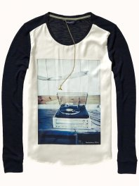 Maison Scotch Photoprint longsleeve with silky front Combo A