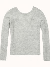Maison Scotch Fluffy knit with low back Grey melange