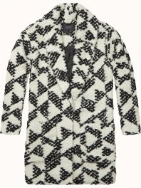 Maison Scotch - Cocoon fit wool coat in special geo dessin Com..