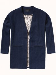 Maison Scotch Boxy fit summer blazer with special lining Indigo