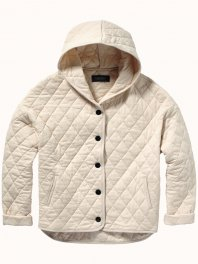 Maison Scotch - Quilted jersey hooded jacket with longer lengt..