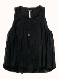 Maison Scotch Sleeveless top in drapy cotton quality with matching embroidery Black