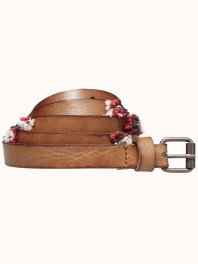 Maison Scotch Buckle leather belt with pompon embroidery and beads details Combo C