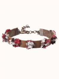 Maison Scotch Leather bracelets with pompon embroidery and beads details Combo C