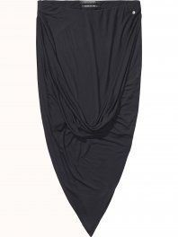 Maison Scotch Asymmetric twisted jersey skirt Black