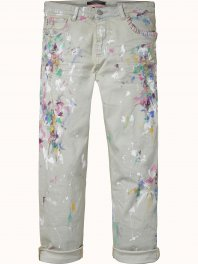 Maison Scotch New fit 'Johnny' boyfriend fit pants with paint splatters Chalk blue