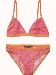 Maison Scotch Sexy lace lingerie, sold in a canvas bag Tropical pink
