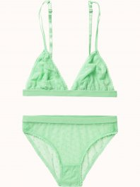 Maison Scotch Sexy lace lingerie, sold in a canvas bag Tropical green