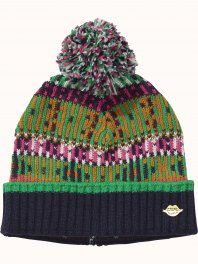 Maison Scotch Fun jacquard beanie with pompom Combo B