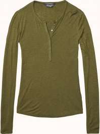 Maison Scotch Long sleeve granddad with woven placket Army Melange
