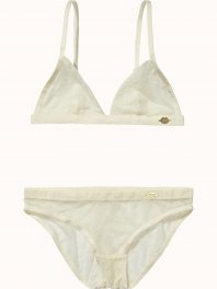 Maison Scotch Bra and panty sets in various mesh quality Off White