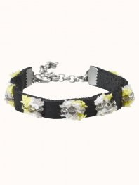 Maison Scotch Leather bracelets with pompon embroidery and beads details Combo A